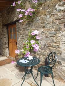 Tea on the patio at Glanoer Mid Wales